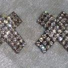 vintage silver tone clip on kisses X rhinestone earrings wedding prom blouse