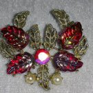 Vintage pin brooch red AB plastic leafs rhinestone faux pearl gold tone