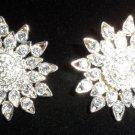 vintage silver tone clip on earrings sun flowers shines star sun dress blouse
