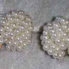 vintage Marvella faux pearl beads cluster button screw on earrings stunning