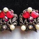 Vintage earrings red Lucite discs pink aurora borealis rhinestones faux pearl
