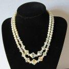 Vintage faux pearl Aurora Borealis Necklace Wedding chic CLASSY