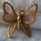 Vintage signed Monet Butterfly pin brooch filigree work  gold tone nice size