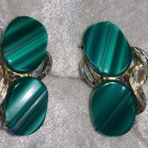 Lucite green earrings textures wavy cool vintage clip on chic different