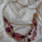 vintage gold tone chunky purples lavender necklace plastic beads for Hunfest