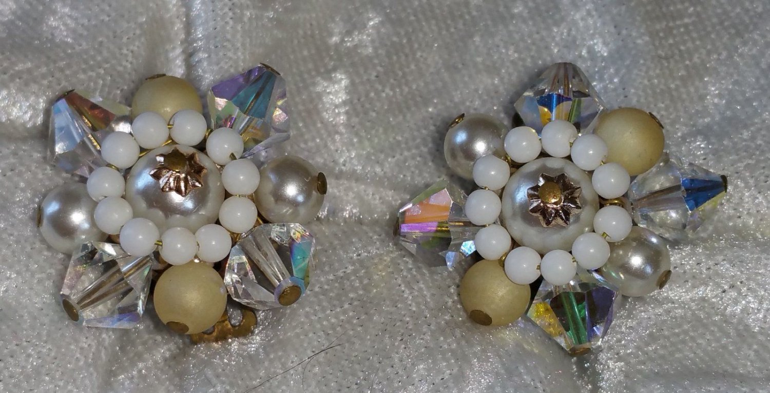 Vintage Aurora Borealis crystal clip on faux pearl signed Japan  Downton Abbey