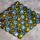 vintage pin brooch sky blue and lime green rhinestone gold tone diamond shape