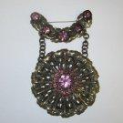 Gold tone star burst sun leaf purple rhinestone pin brooch vintage Downton Abbey
