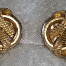 signed crown Trifari ribbon earrings elegant vintage gold tone timeless ribbed