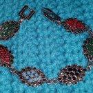 Tibet Silver multi color Resin Bracelet USA Seller black red blue green 7 inches
