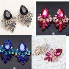 Earrings post plastic rhinestones black blue pink pretty night out