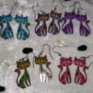 Cat earrings flowers 60s acryllic dangle pussy kitten cat lover