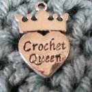 Crochet queen charm silver tone crown heart set of 5