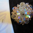 Vintage clear AB crystal earrings So Downton abbey clip on  lot 106 redo