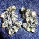 Vintage signed Coro earrings bows ribbons rhinestone silver tone Downton Abbey