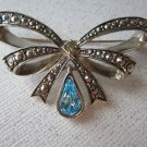 Vintage Avon Birthstone bow pin brooch from 1994 September baby silvertone