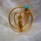 vintage 20/24 gold filled faux turquoise flower pretty pin brooch