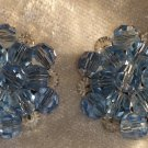 Vintage blue and white crystal button earrings so Downton abbey