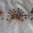 Duettes Vintage silver tone flower Aurora borealis earrings and brooch RARE