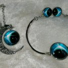 Moon Necklace earrings and bracelet silvertone NASA Crescent
