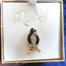 Vintage Monet Penguin Wildlife Figural Gold Tone Rhinestone Crystal Brooch pin