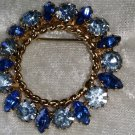 Vintage gold tone dark blue rhinestones pin brooch sky blue nice wreath