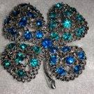 Four leaf clover Cobalt aquamarine rhinestone vintage brooch pin st Patricks day