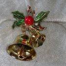 Vintage Christmas pin brooch bells holly enamel Downton Abbey gold tone