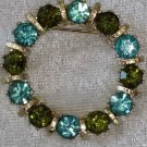 Rhinestone olive green and baby blue gold tone pin brooch vintage wreath