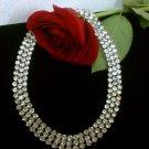 Vintaage Wedding Czechoslovakian crystal Rhinestone necklace vintage 3 rows
