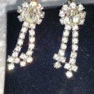 Vintage Vintage screw back dangle flowe rhinestone  retro earrings rare