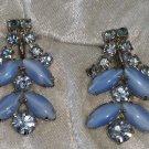 Blue rhinestone earrings blue cabochons vintage silver tone screw back