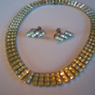 Silver tone vintage earrings and necklace rhinestone set