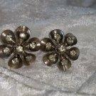 flower earrings rhinestones signed Czechoslovakia silver tone vintage