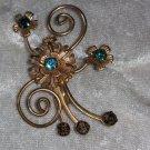 Flower brooch pin gold tone light blue dark blue rhinestone art deco vintage swi
