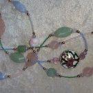 """Vintage necklace Rose quartz light jade stones beads 15 """" one side porcelain"""