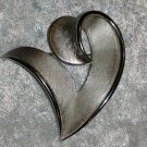 Crown Trifari silver tone pin brooch vintage chic timeless heart shaped
