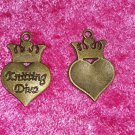 heart dangle crown knitting diva gold tone charm crafts knit bronze 4 for $4