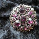 Purple passion gold tone vintage pin brooch rhinestones filigree different