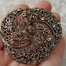 Silver tone pin brooch vintage rhinestones charcoal filigree swirl crystal