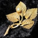 BSK Signed Pin Brooch Gold Tone Faux Pearl Textured leaf WOW