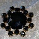 Bakelite black gold tone multi faucet pin brooch