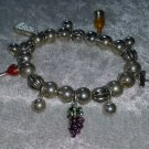 Charm bracelet cheese wine silver tone beads just too cute