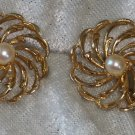 Vintage flower faux pearl circle button cluster clip on earnings 1960s