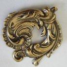 Art Nouveau Banana Bob leafs gold tone vintage pin brooch Banana Bob