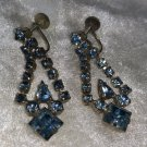 Glass blue rhinestone earrings dangle screw back vintage