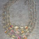 Vintage 3 strand Aurora Borealis crystal necklace multi facet So Downton Abbey