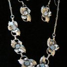 Vintage silver tone sky blue rhinestone leaf flower earring and necklace set