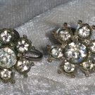 Signed early Nemo flower clear rhinestone earrings vintage petiete button