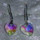clear Aurora Borealis Crystal heart earringss hook Downton Abbey
